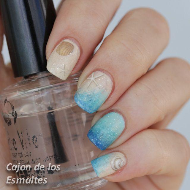 Decoración de uñas para playa - Summer nail art challenge