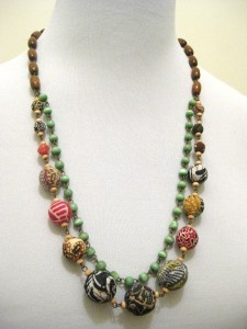 Batik Ori Necklace, a combination of stones, wood beads and beads wrapped in colorful batik fabrics | www.purplecabinet.com