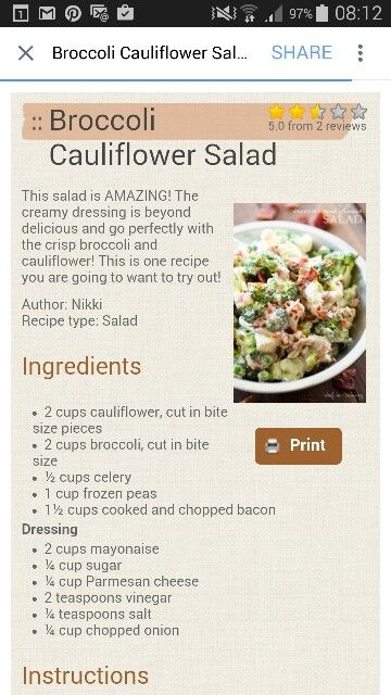Brocolli cauliflower salad