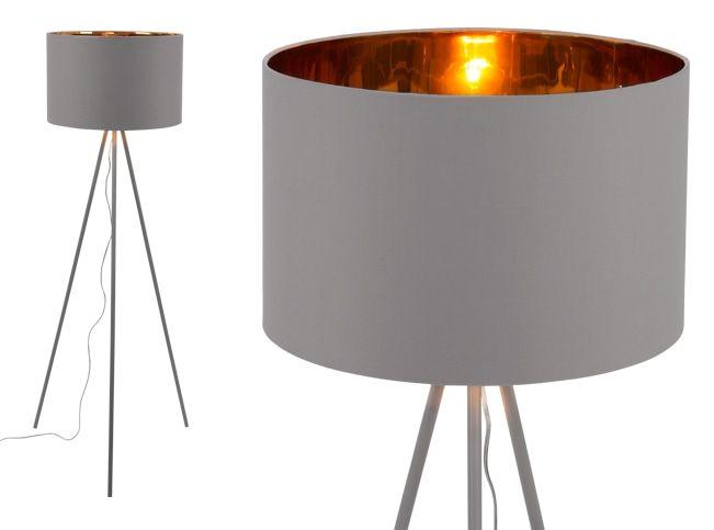 Tris Floor Lamp, Matt Grey and Copper