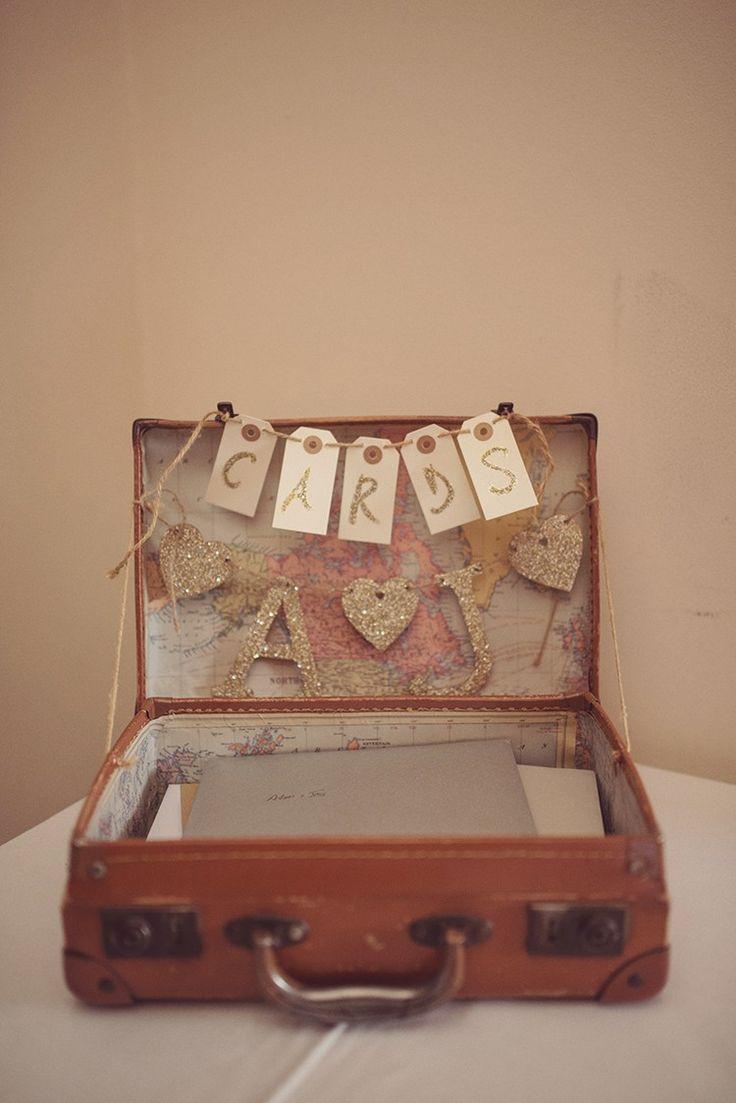 Card Suitcase Snowy Glam Glitter Winter Wedding http://www.rebeccadouglas.co.uk