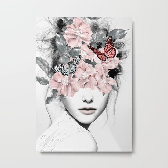 """WOMAN WITH FLOWERS 10"" by dada22 • buy a print: https://society6.com/product/woman-with-flowers-10390758_print?curator=bohemianizm . #art #arts #flowers #flower #butterflies #butterfly #lips #mouth #portrait #modernart #contemporaryart #surreal #surrealism #fantasy #buyart #supportartists #supportthearts"