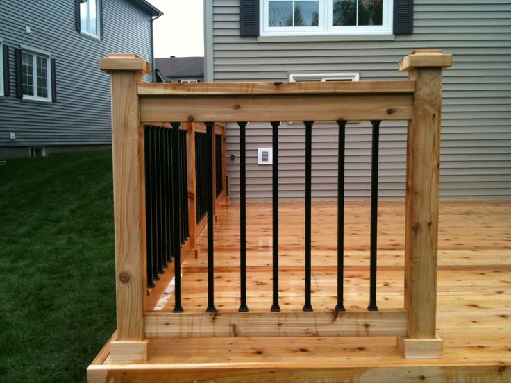 Multi-level western red cedar deck/black estate balusters (before and ...