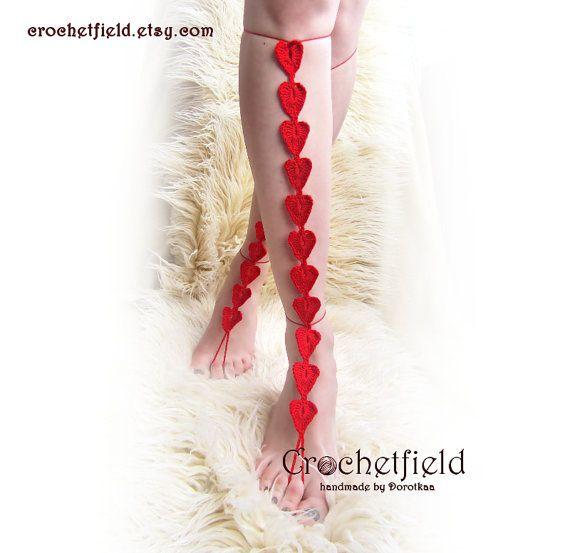 Red HEARTS crochet barefoot sandals knee high by Crochetfield