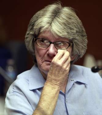 Former Manson family member and convicted murderer Patricia Krenwinkel appears at a parole hearing a... - Reed Saxon, AP