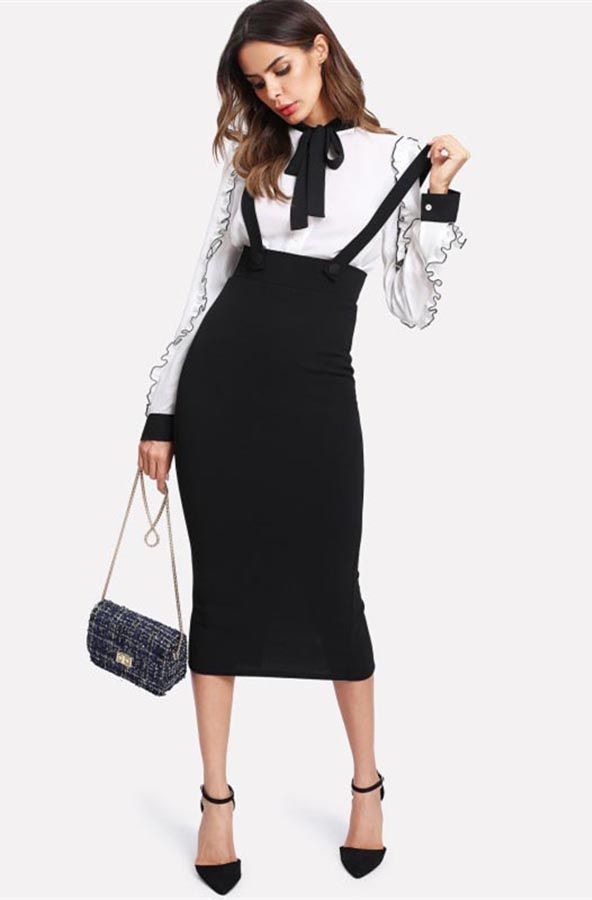 942b5cec129 high waist pencil midi skirt
