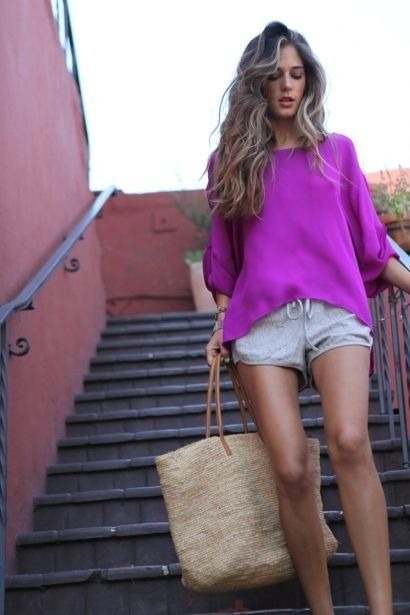 love a rich color slouchy sweater with casual cotton shorts. perfect for beach