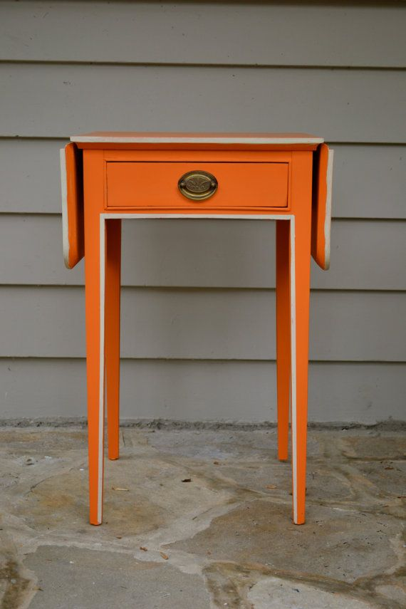 Up cycled Vintage  Hand painted  Orange Table via Etsy