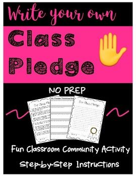 There are so many class pledges already written out there, but I think it is more meaningful when students create and hold themselves to their own rules. In this activity you will create your own class pledge by piecing together sentence starters from different students to create one complete class pledge!Includes- Complete step by step instructions- Sentence starter strips- Class pledge final draft template- Sentence starter strips sample- Class pledge sampleEnjoy!