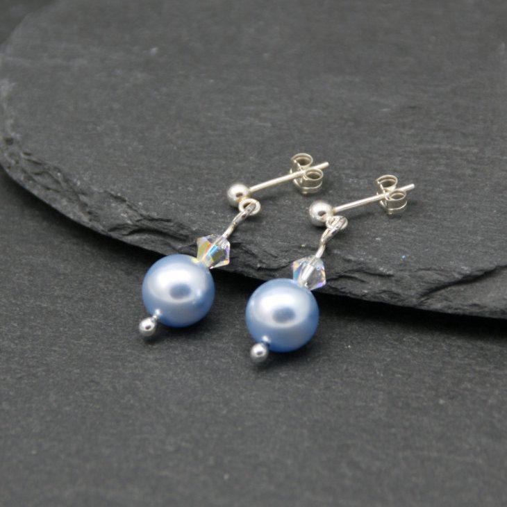 Blue Pearl Earrings, Silver Pearl Earrings, Sterling Silver Earrings, Swarovski…