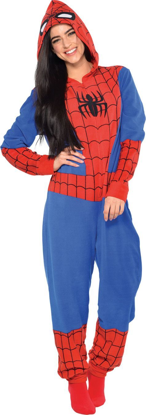 Adult Spiderman One Piece Pajama - Party City