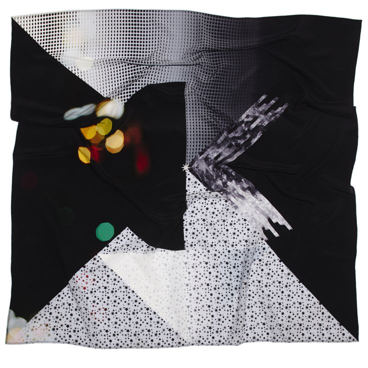 The Night is Young silk scarf - inspired by the city at night to create an abstract collage. Designed by Project Fond a percentage of all profits goes towards The Girl Effect.