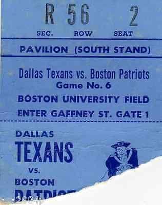 1961 DALLAS TEXANS @ BOSTON PATRIOTS TICKET STUB EARLY AFL - KANSAS CITY CHIEFS