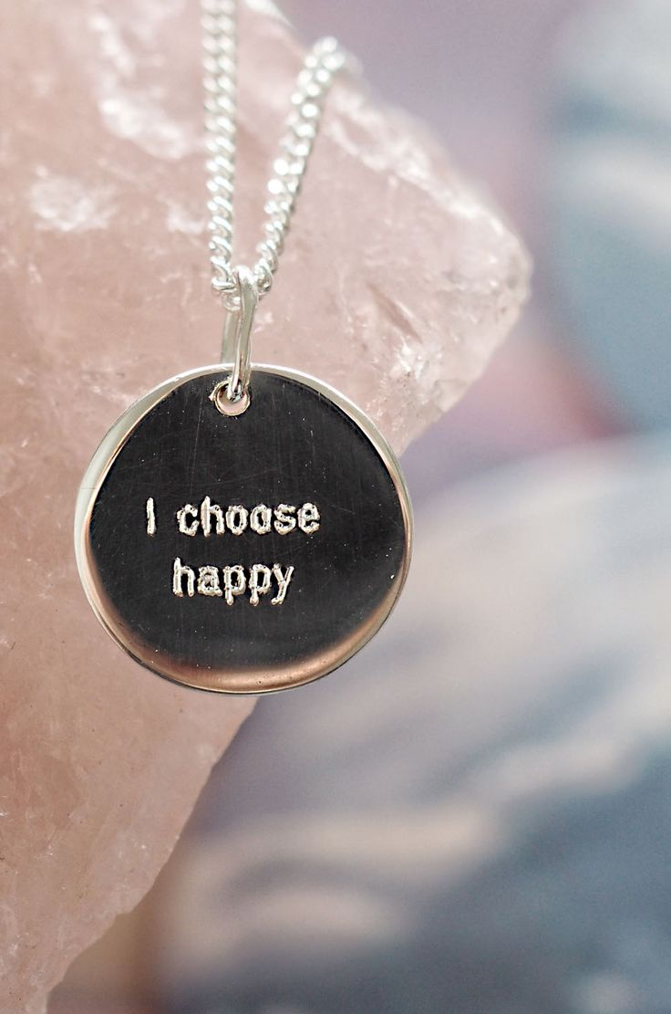 """Tiny minimalist sterling silver round pendants with simple font motivational saying """"I Choose Happy"""""""