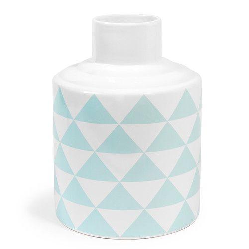 Vase en porcelaine bleu/blanc H 22 cm SCANDINAVE