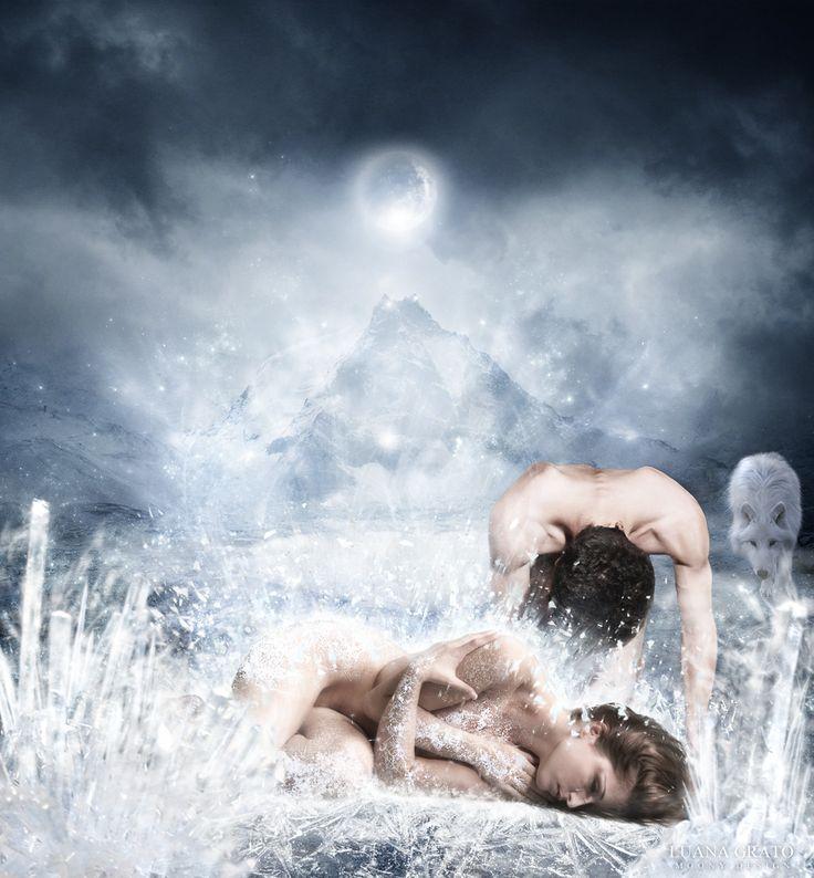 Tears of an angel Misura: 41 x 45 cm Tecnica: fotomanipolazione digitale  #moonydesign #luanagrato #digitalart #phtomanipulation #photoshop #tears #sadness #tragiclove #wolf #ice #moon