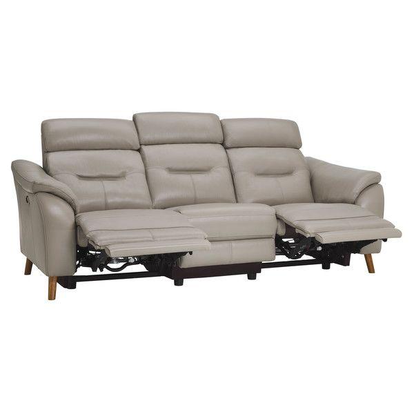 Light Grey Leather Sofas 3 Seater Electric Recliner Sofa Muse Range Oak Furnitureland Reclining Sofa Grey Leather Sofa Oak Furniture Land