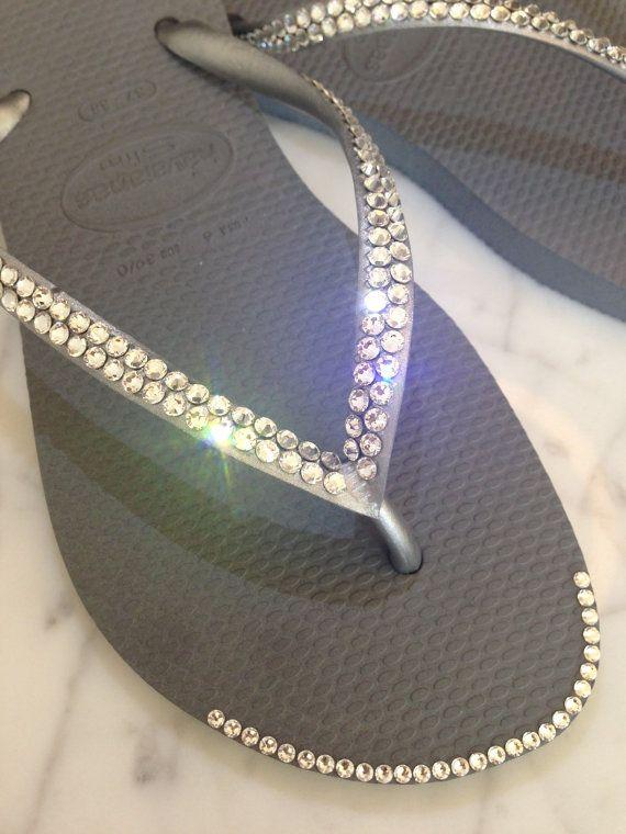 Havaianas Slim Style Flip Flops with Swarovski Crystals by GemMii, $75.30