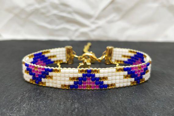 Blue & pink bead woven bracelet Loom beaded bracelets 16K