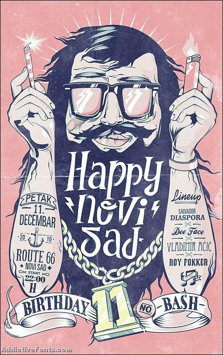 posters: Birthday Bash, Marko Purac, Happynovisad Birthday, Inspiration, Illustrations Flyers, Art, Gig Poster, Beautiful Typography, Graphics Design Poster