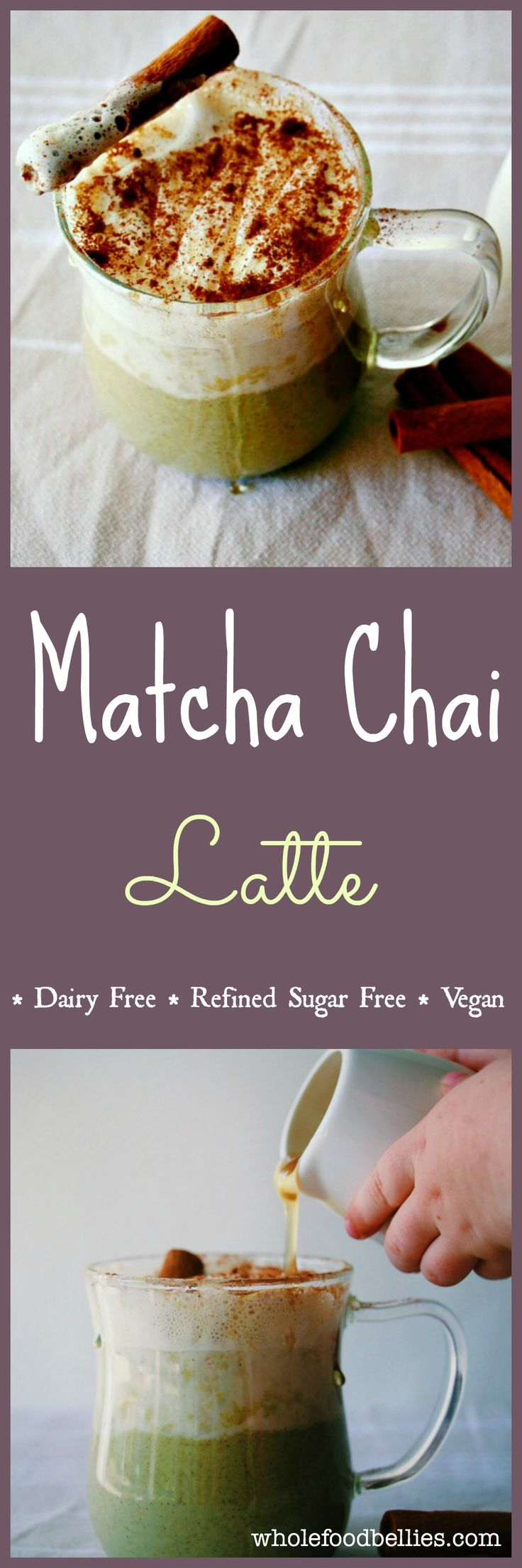 Green Tea Chai Spiced Latte. No refined sugar, dairy free, vegan, clean eating #matcha #vegan #drink #chai