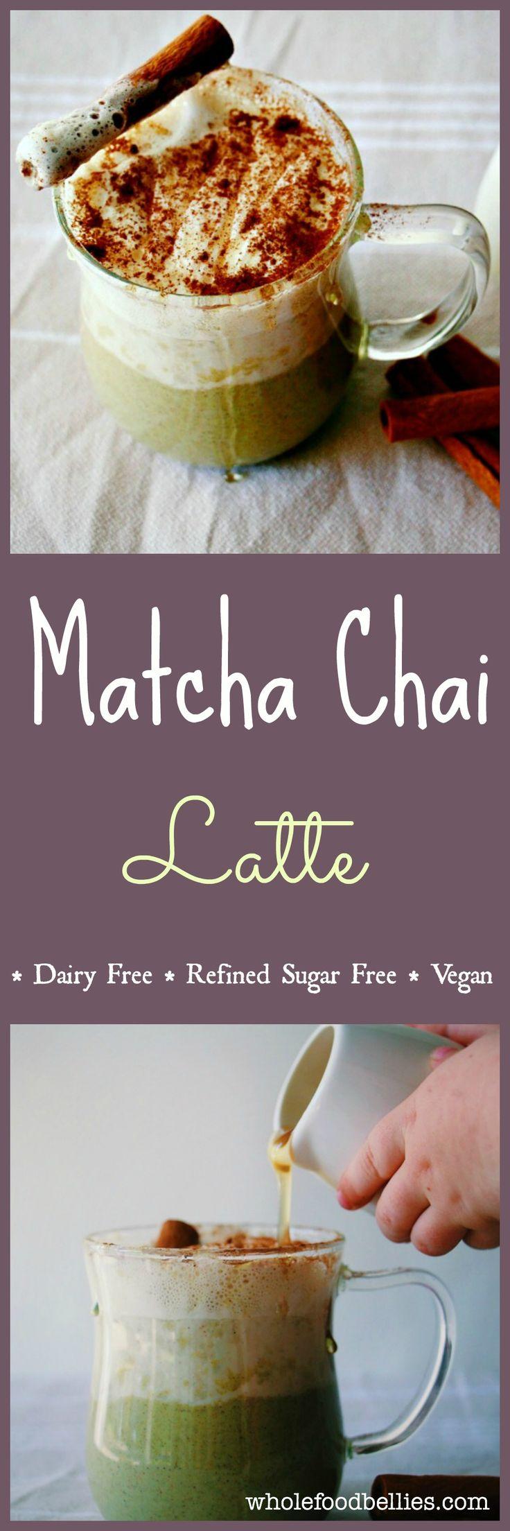 Green Tea Chai Spiced Latte. No refined sugar, dairy free, vegan, clean eating #matcha #vegan #drink #chai
