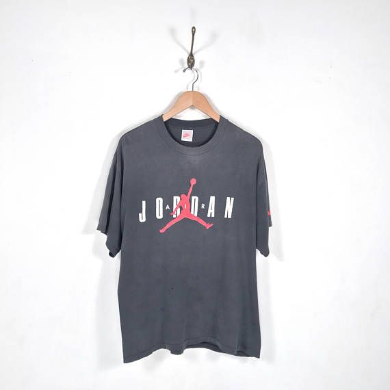 80s 90s NIKE Air Jordan Gray Tag T-Shirt. Vintage Faded Black Nike Air Jordan Jumpman Swoosh Logo Basketball Michael Jordan Era Tee.