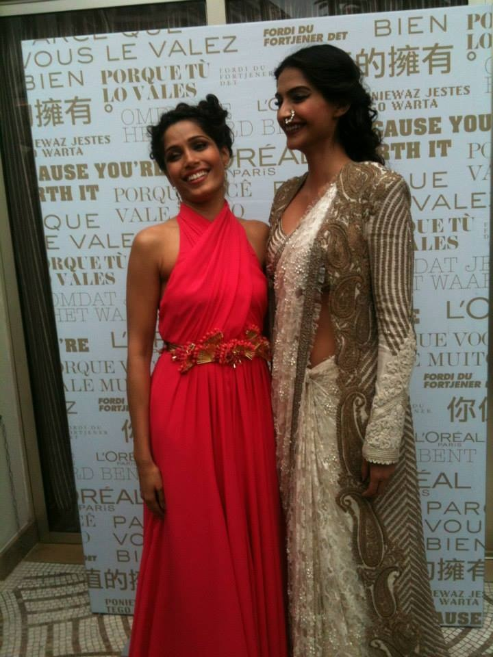 Sonam Kapoor & Freida Pinto just before walking the red carpet Cannes Film Festival 2013
