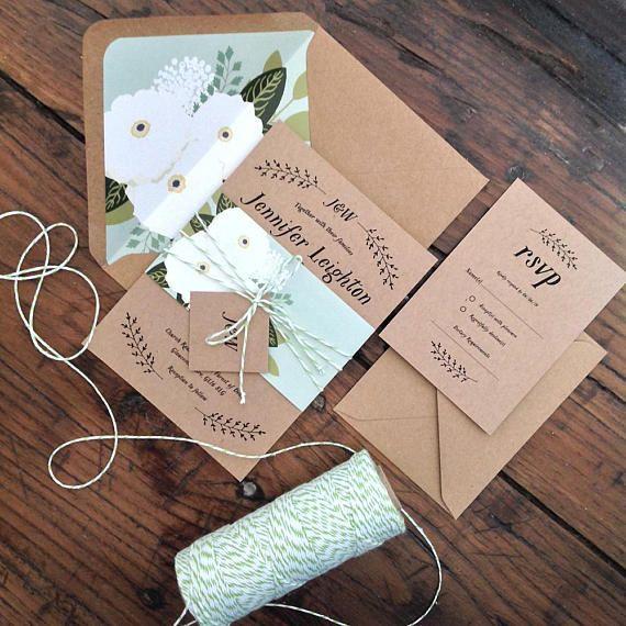 Gardenia kraft wedding invitation suite Rustic greenery