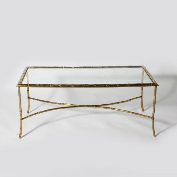 coffee tables bamboo and glass   Bagues bronze faux bamboo coffee table with glass top, c. 1950