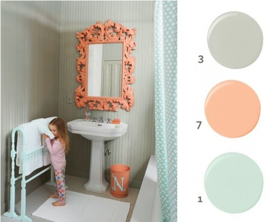 Lovely Coral/mint Bathroom. Http://www.marthastewart.com/274423
