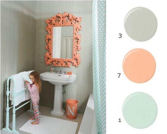 Coral mint bathroom for Bathroom decor coral