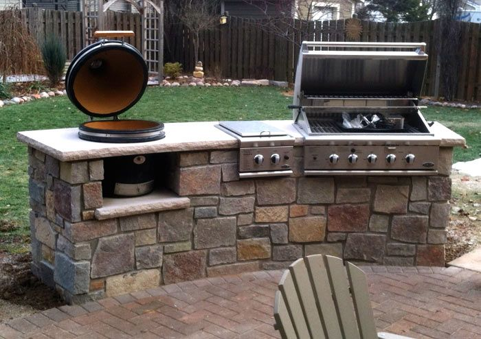 Permanent inline outdoor gas grills have a built in for Outdoor kitchen barbecue grills