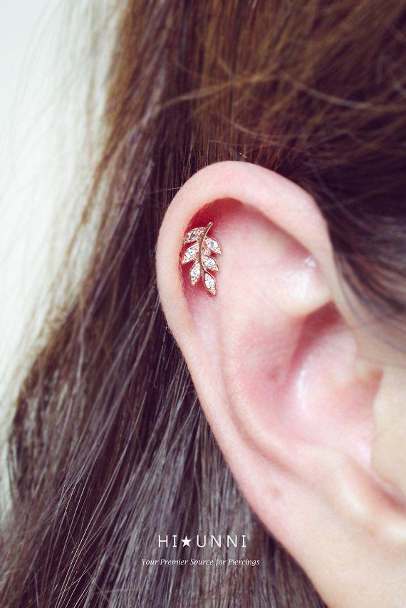 16g CZ leaf & flower ear piercing stud barbell cartilage by HiUnni