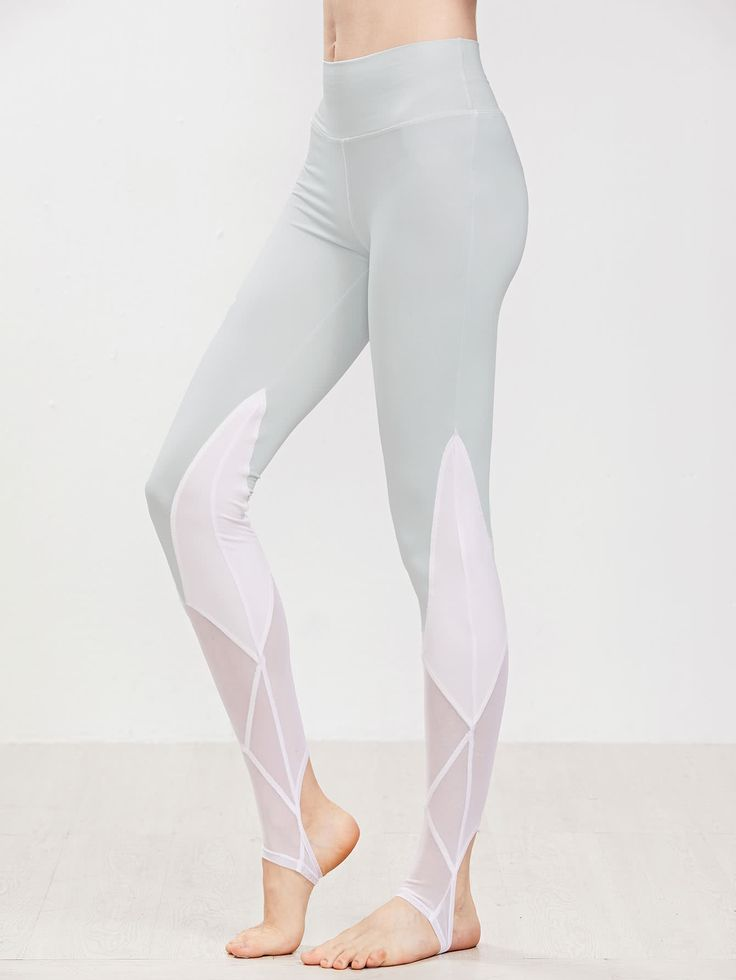 Shop Contrast Mesh Insert Stirrup Leggings online. SheIn offers Contrast Mesh Insert Stirrup Leggings & more to fit your fashionable needs.