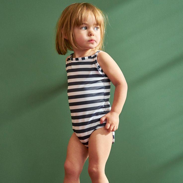 swimsuit / navy stripe / nature baby