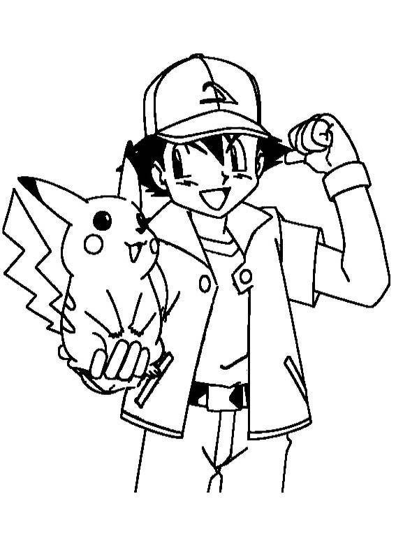 Ash ketchum encouraging pikachu coloring page pokemon for Ash and pikachu coloring pages