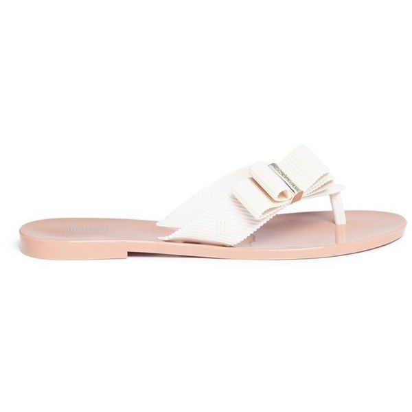 Melissa x Jason Wu 'Girl' PVC flip flops (1.815.520 VND) ❤ liked on Polyvore featuring shoes, sandals, flip flops, white, ribbon sandals, summer flip flops, melissa shoes, white sandals and white flip flops