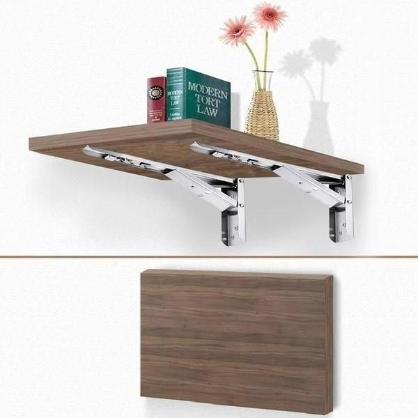 Foldable Wall Shelf Bracket 2pcs In 2020 Collapsible Shelves Wall Shelf Brackets Wall Shelves