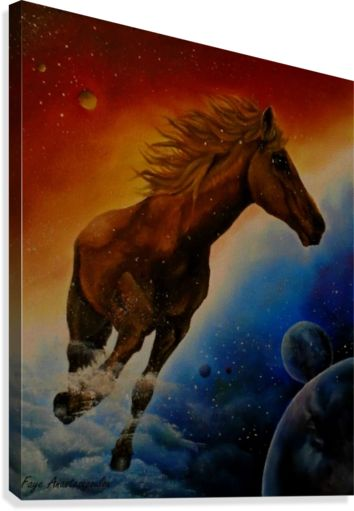 space, universe, cosmos, fantasy, sky, whimsical, art, painting, planets, horse, colorful