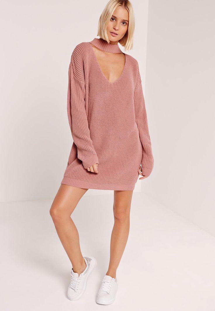 Missguided - Choker Neck Slouchy Mini Dress Pink