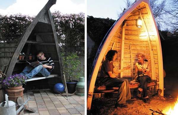 Repurposed boat into outdoor seating.15 Clever Ideas For Reuse Boats