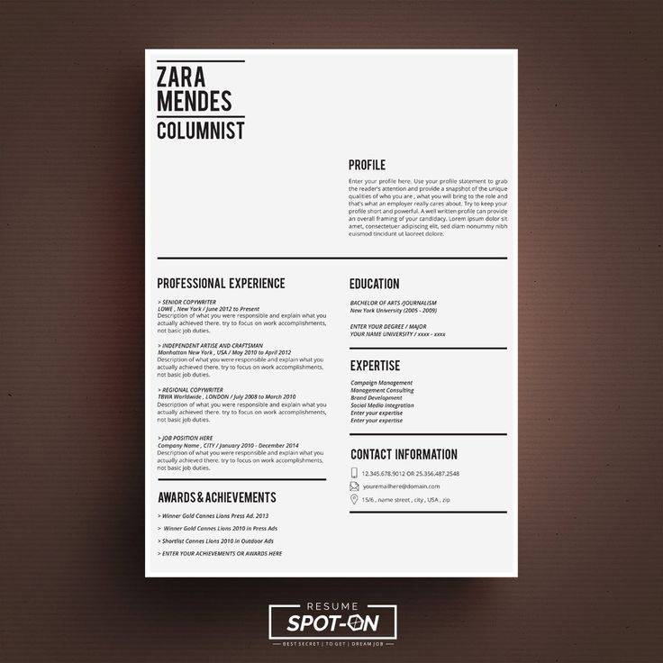 Best ResumeCv Template By SpotOn Resume Images On