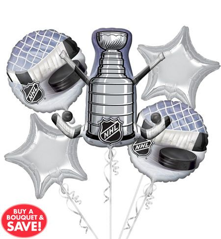 NHL Balloon Bouquet 5pc - Giant Stanley Cup - Party City