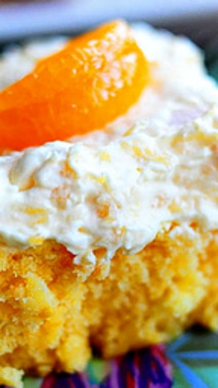 Sponge Cake With Crushed Pineapples Jello And Whipped Cream