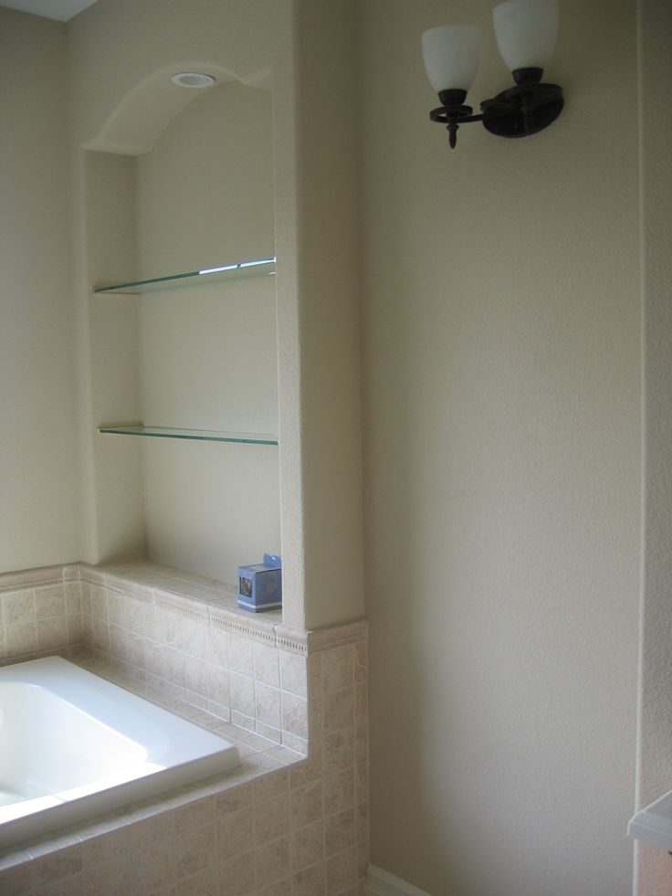 Built in nook in the drywall adds shelves for above the master bath tub for more information What sheetrock to use in bathroom