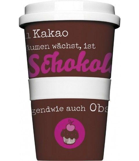 """Rannenberg Coffee To Go Becher """"Schokolade ist Obst"""" Kaffeebecher Porzellan Becher Reisebecher  - 2-flowerpower"""