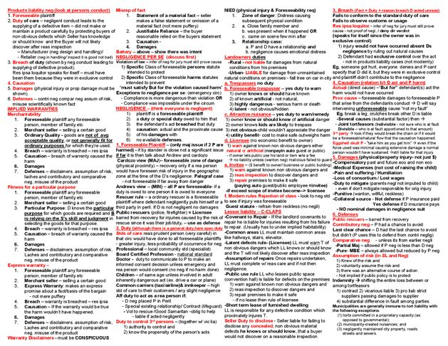One page Law School & Bar Exam Torts Law Outline page:3