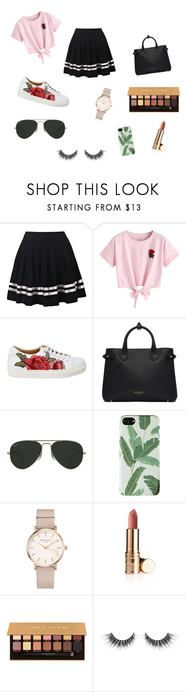 """""""cute outfit"""" by rkehoee on Polyvore featuring WithChic, Burberry, Ray-Ban, ROSEFIELD and Anastasia Beverly Hills"""