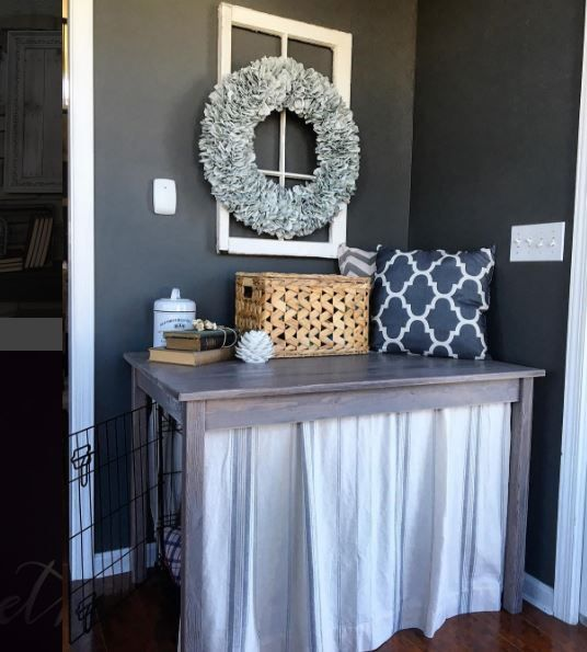 Dog Crate Table by SnazzyLittleThings -- easy way to hide the eyesore of a dog crate or indoor kennel